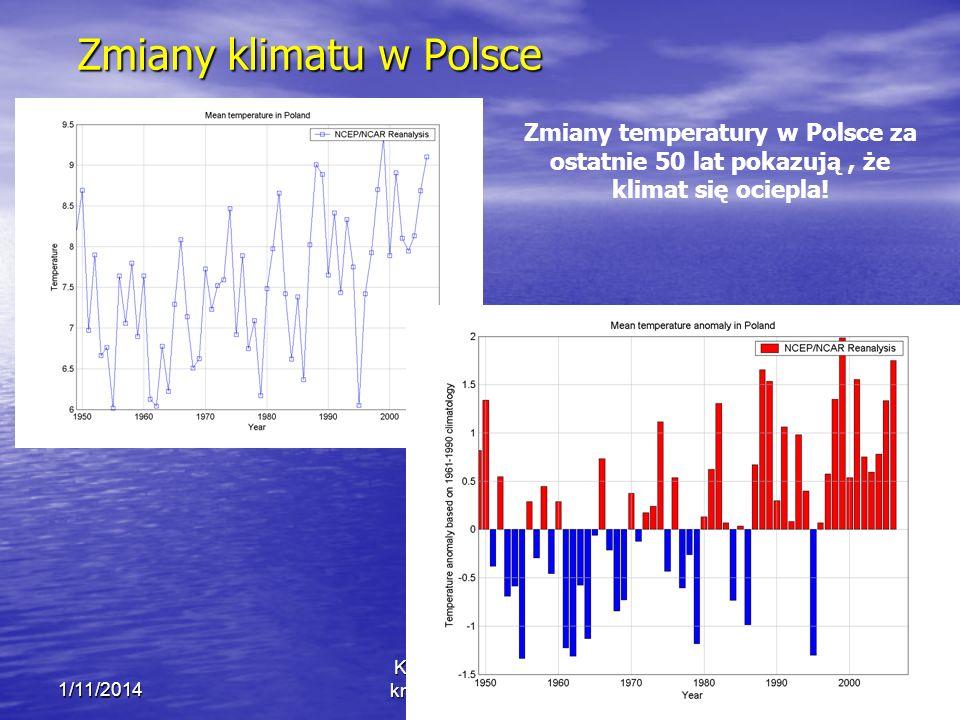 Zmiany klimatu w Polsce 1/11/2014 Krzysztof Markowicz kmark@igf.fuw.edu.pl Zmiany temperatury w Polsce za ostatnie 50 lat pokazują, że klimat się ociepla!