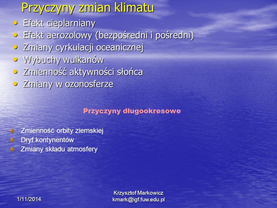 1/11/2014 Krzysztof Markowicz kmark@igf.fuw.edu.pl Przyczyny zmian klimatu Efekt cieplarniany Efekt cieplarniany Efekt aerozolowy (bezpośredni i pośre