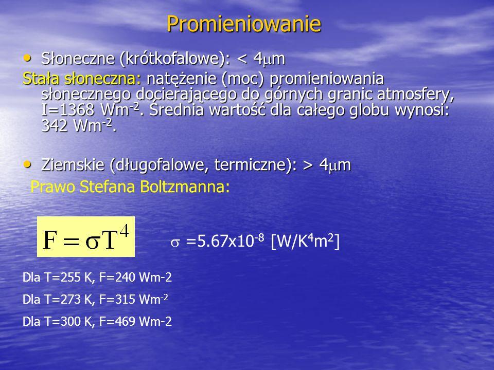 Promieniowanie Słoneczne (krótkofalowe): < 4 m Słoneczne (krótkofalowe): < 4 m Stała słoneczna: natężenie (moc) promieniowania słonecznego docierającego do górnych granic atmosfery, I=1368 Wm -2.