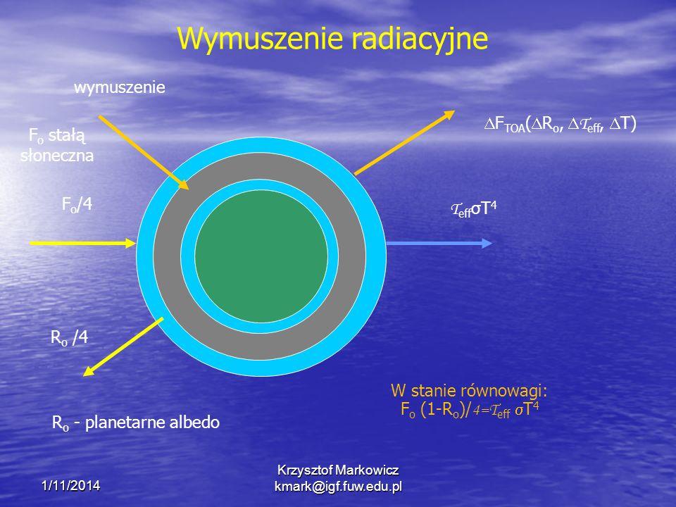 1/11/2014 Krzysztof Markowicz kmark@igf.fuw.edu.pl F o /4 T eff σT 4 F TOA ( R o, T eff, T) wymuszenie R o /4 W stanie równowagi: F o (1-R o )/ 4=T eff T 4 R o - planetarne albedo F o stałą słoneczna Wymuszenie radiacyjne