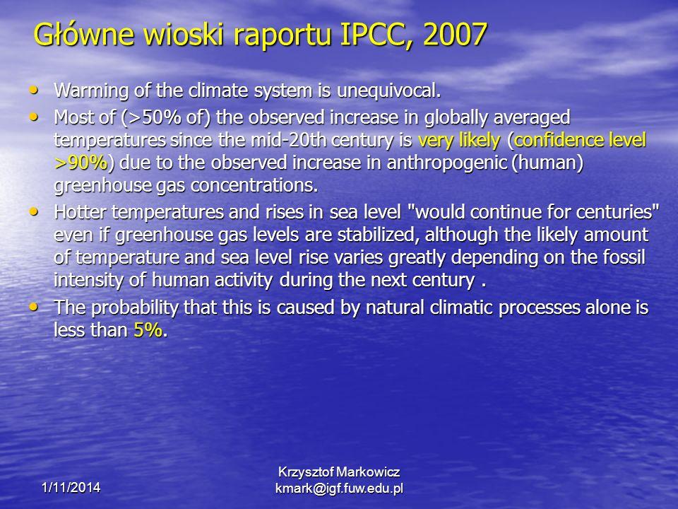 Główne wioski raportu IPCC, 2007 Warming of the climate system is unequivocal. Warming of the climate system is unequivocal. Most of (>50% of) the obs