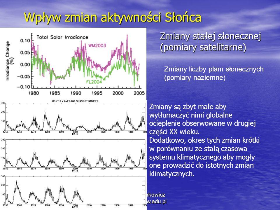 1/11/2014 Krzysztof Markowicz kmark@igf.fuw.edu.pl Wpływ zmian aktywności Słońca Zmiany stałej słonecznej (pomiary satelitarne) Zmiany liczby plam słonecznych (pomiary naziemne) Zmiany są zbyt małe aby wytłumaczyć nimi globalne ocieplenie obserwowane w drugiej części XX wieku.