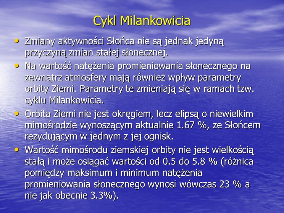 Cykl Milankowicia Zmiany aktywności Słońca nie są jednak jedyną przyczyną zmian stałej słonecznej.