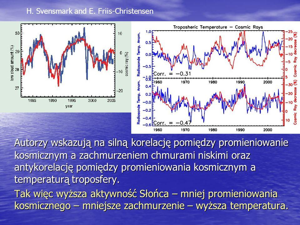 Autorzy wskazują na silną korelację pomiędzy promieniowanie kosmicznym a zachmurzeniem chmurami niskimi oraz antykorelację pomiędzy promieniowania kosmicznym a temperaturą troposfery.