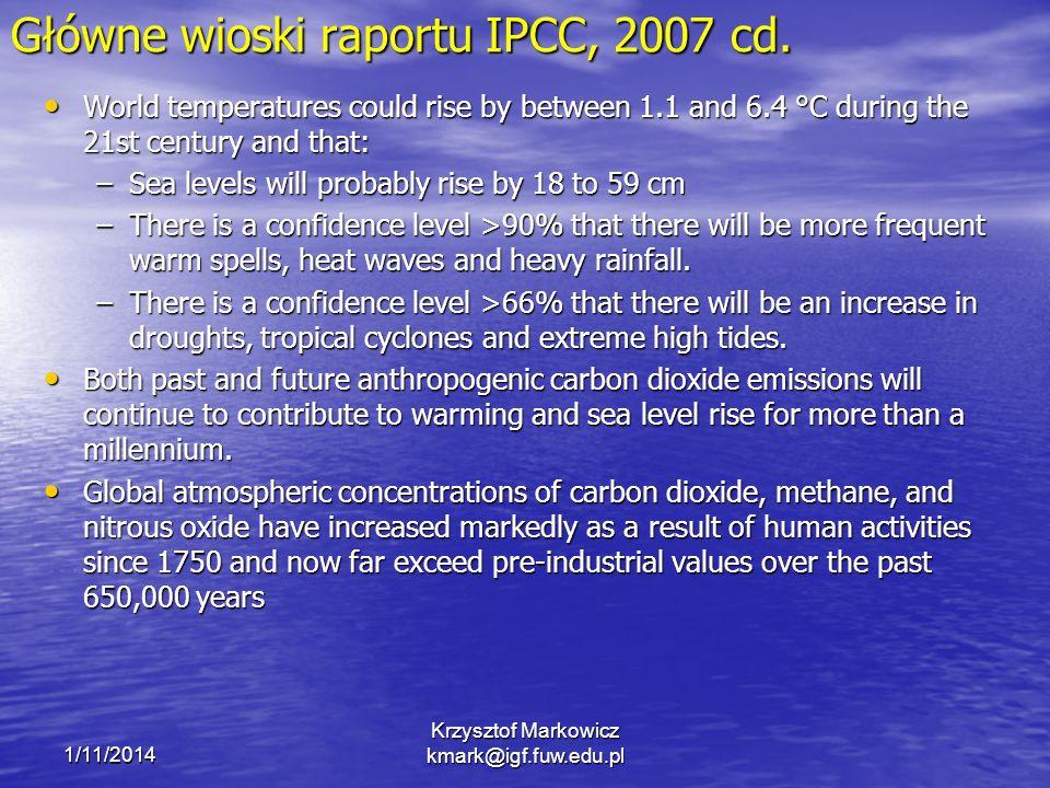 1/11/2014 Krzysztof Markowicz kmark@igf.fuw.edu.pl Globalne ocieplenie a ochłodzenie stratosferyczne dane aerologiczne dane satelitarne