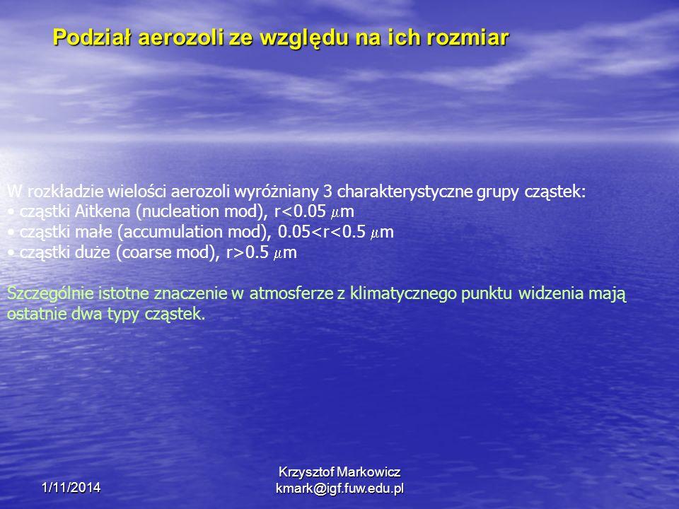 1/11/2014 Krzysztof Markowicz kmark@igf.fuw.edu.pl Podział aerozoli ze względu na ich rozmiar W rozkładzie wielości aerozoli wyróżniany 3 charakterystyczne grupy cząstek: cząstki Aitkena (nucleation mod), r<0.05 m cząstki małe (accumulation mod), 0.05<r<0.5 m cząstki duże (coarse mod), r>0.5 m Szczególnie istotne znaczenie w atmosferze z klimatycznego punktu widzenia mają ostatnie dwa typy cząstek.