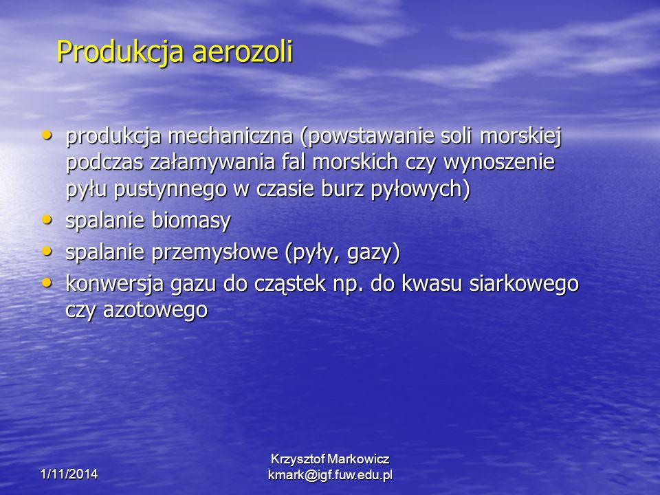 1/11/2014 Krzysztof Markowicz kmark@igf.fuw.edu.pl Produkcja aerozoli produkcja mechaniczna (powstawanie soli morskiej podczas załamywania fal morskich czy wynoszenie pyłu pustynnego w czasie burz pyłowych) produkcja mechaniczna (powstawanie soli morskiej podczas załamywania fal morskich czy wynoszenie pyłu pustynnego w czasie burz pyłowych) spalanie biomasy spalanie biomasy spalanie przemysłowe (pyły, gazy) spalanie przemysłowe (pyły, gazy) konwersja gazu do cząstek np.