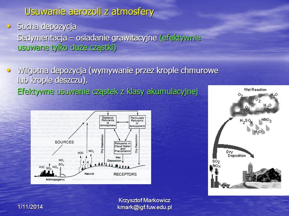 1/11/2014 Krzysztof Markowicz kmark@igf.fuw.edu.pl Usuwanie aerozoli z atmosfery Sucha depozycja Sucha depozycja Sedymentacja – osiadanie grawitacyjne (efektywnie usuwane tylko duże cząstki) Wilgotna depozycja (wymywanie przez krople chmurowe lub krople deszczu).