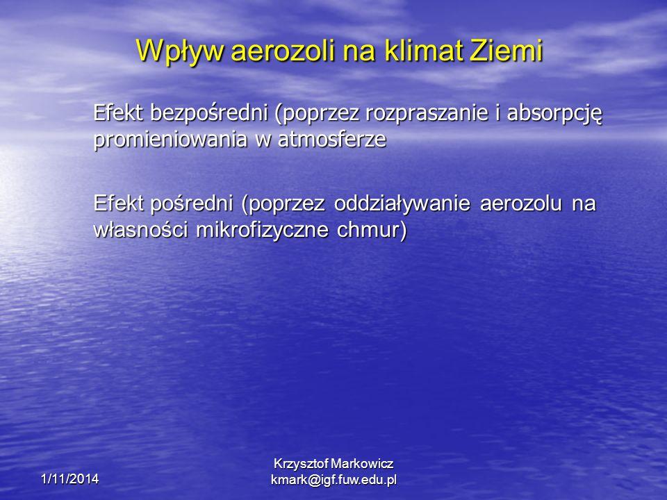 1/11/2014 Krzysztof Markowicz kmark@igf.fuw.edu.pl Wpływ aerozoli na klimat Ziemi Efekt bezpośredni (poprzez rozpraszanie i absorpcję promieniowania w