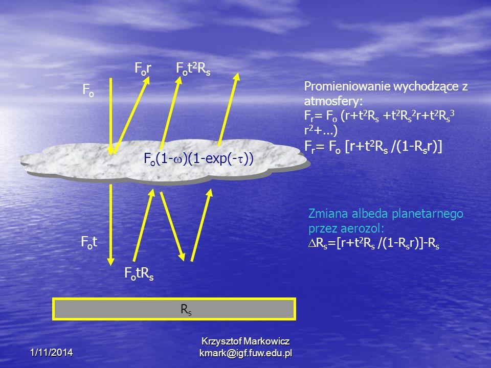 1/11/2014 Krzysztof Markowicz kmark@igf.fuw.edu.pl FoFo F o (1- )(1-exp(- )) ForFor RsRs Promieniowanie wychodzące z atmosfery: F r = F o (r+t 2 R s +t 2 R s 2 r+t 2 R s 3 r 2 +...) F r = F o [r+t 2 R s /(1-R s r)] Zmiana albeda planetarnego przez aerozol: R s =[r+t 2 R s /(1-R s r)]-R s FotFot F o tR s Fot2RsFot2Rs