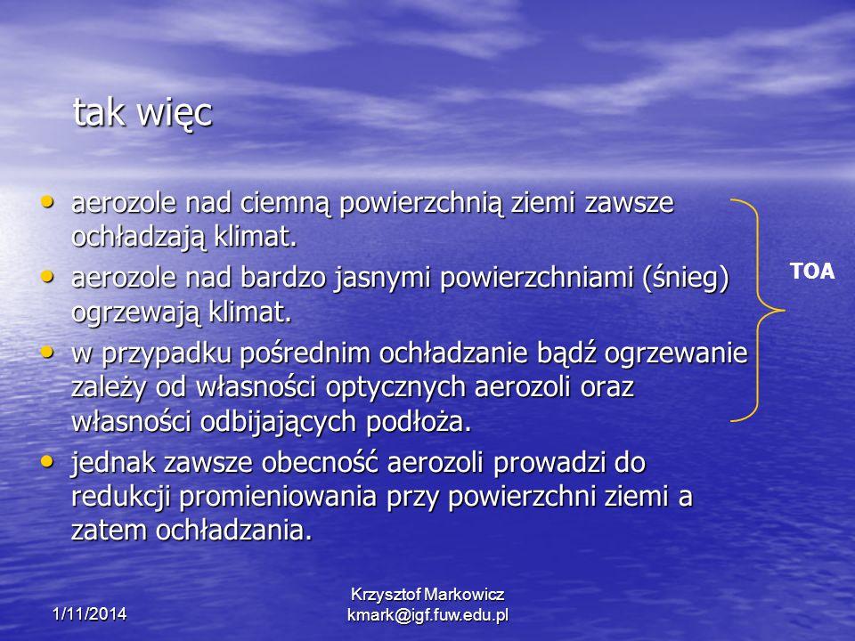 1/11/2014 Krzysztof Markowicz kmark@igf.fuw.edu.pl tak więc aerozole nad ciemną powierzchnią ziemi zawsze ochładzają klimat. aerozole nad ciemną powie