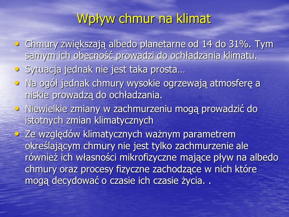 Wpływ chmur na klimat Chmury zwiększają albedo planetarne od 14 do 31%. Tym samym ich obecność prowadzi do ochładzania klimatu. Chmury zwiększają albe