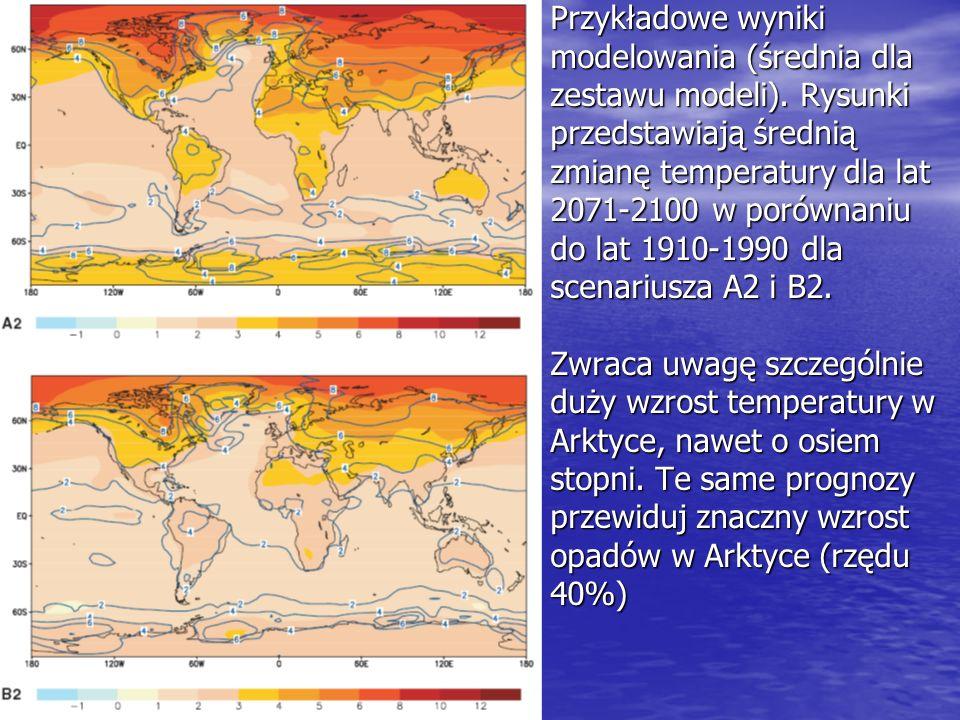 Przykładowe wyniki modelowania (średnia dla zestawu modeli). Rysunki przedstawiają średnią zmianę temperatury dla lat 2071-2100 w porównaniu do lat 19