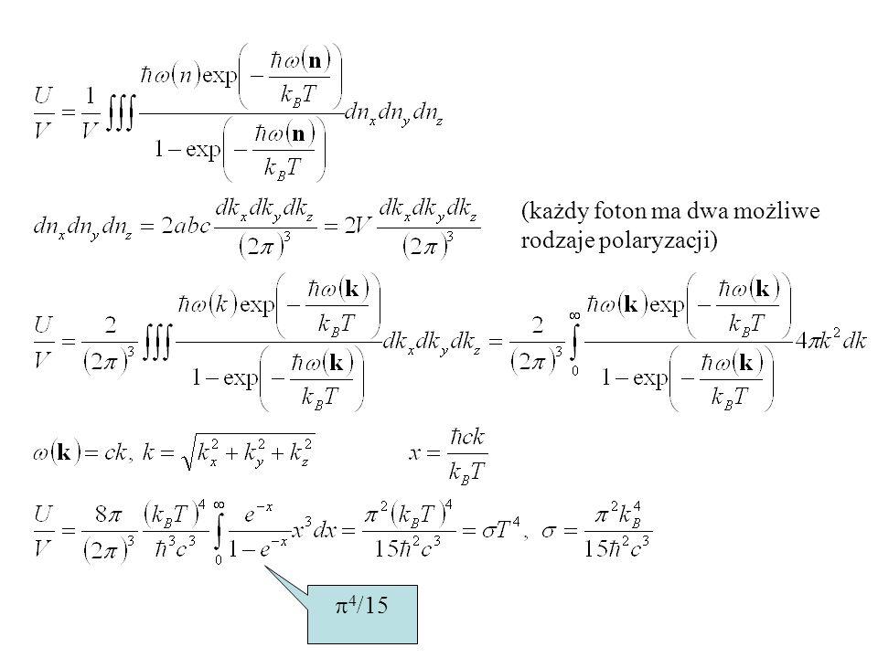 (każdy foton ma dwa możliwe rodzaje polaryzacji) 4 /15