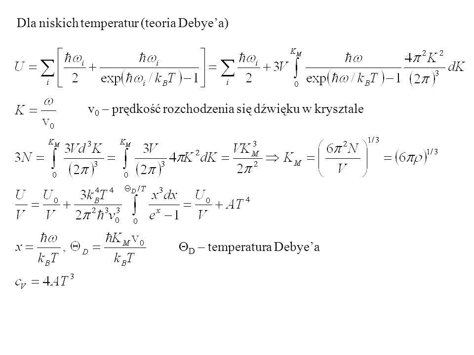 Dla niskich temperatur (teoria Debyea) v 0 – prędkość rozchodzenia się dźwięku w krysztale D – temperatura Debyea