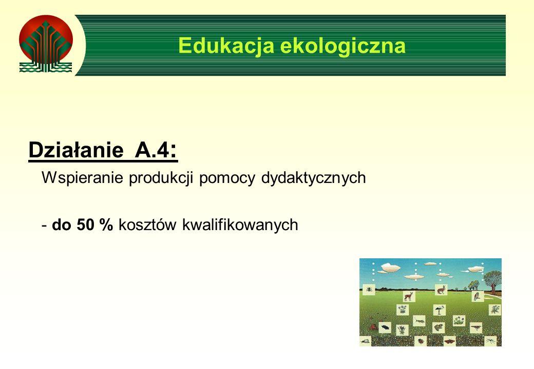 Edukacja ekologiczna Działanie A.4 : Wspieranie produkcji pomocy dydaktycznych - do 50 % kosztów kwalifikowanych