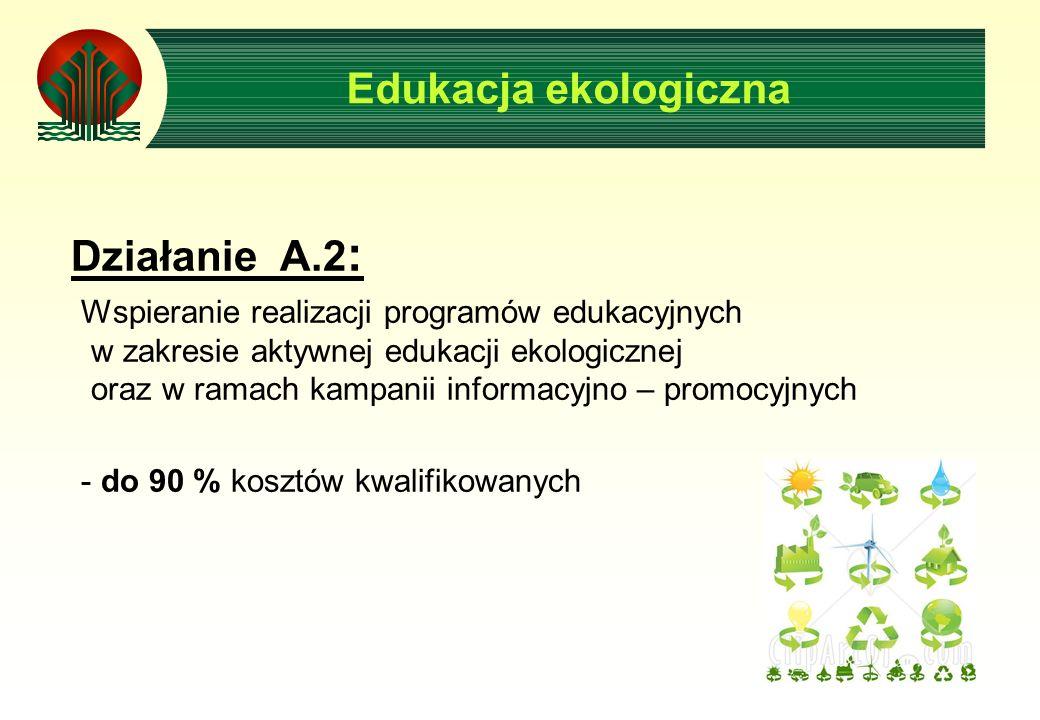 Działanie A.2 : Wspieranie realizacji programów edukacyjnych w zakresie aktywnej edukacji ekologicznej oraz w ramach kampanii informacyjno – promocyjnych - do 90 % kosztów kwalifikowanych Edukacja ekologiczna