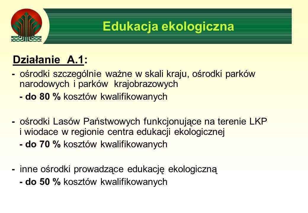 Działanie A.1: - ośrodki szczególnie ważne w skali kraju, ośrodki parków narodowych i parków krajobrazowych - do 80 % kosztów kwalifikowanych - ośrodki Lasów Państwowych funkcjonujące na terenie LKP i wiodace w regionie centra edukacji ekologicznej - do 70 % kosztów kwalifikowanych - inne ośrodki prowadzące edukację ekologiczną - do 50 % kosztów kwalifikowanych Edukacja ekologiczna