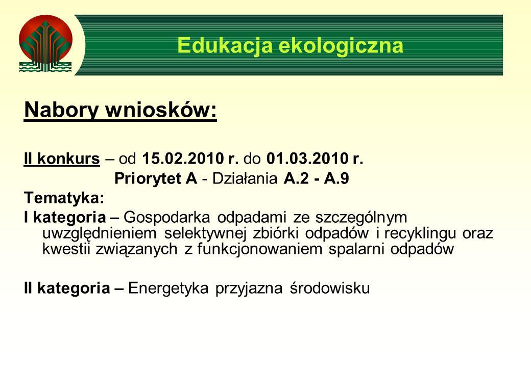 Nabory wniosków: II konkurs – od 15.02.2010 r. do 01.03.2010 r.
