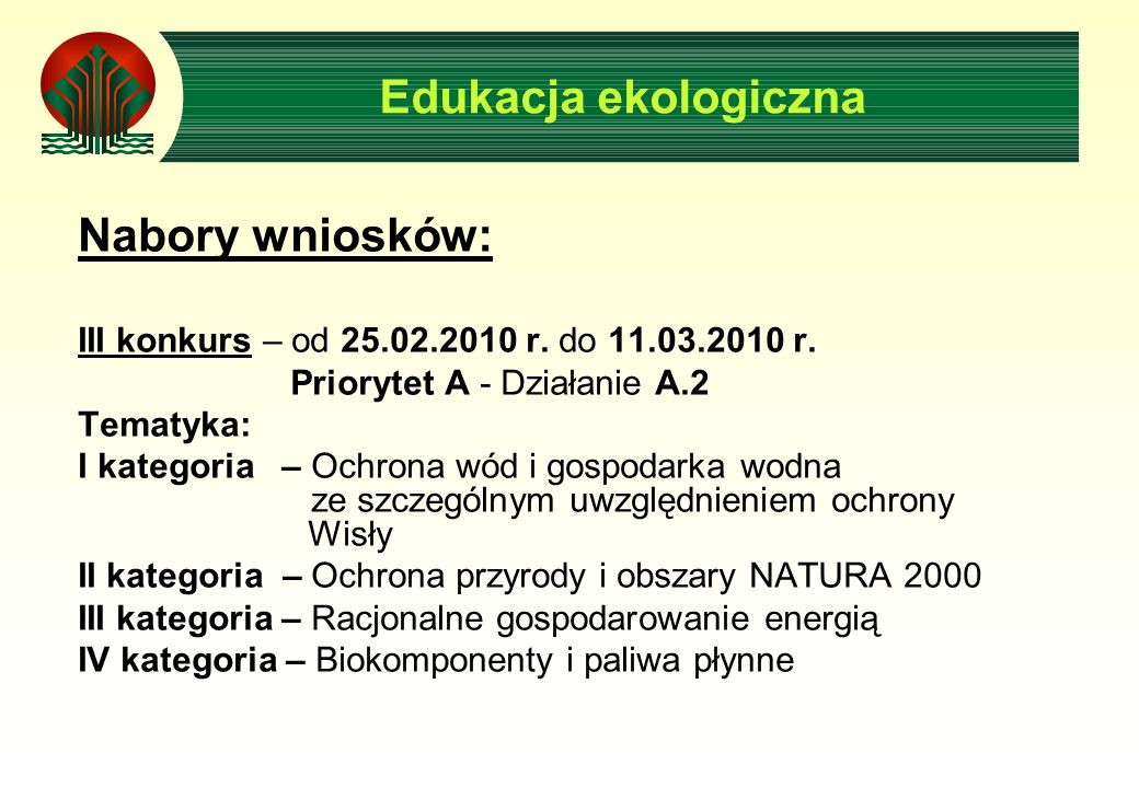 Nabory wniosków: III konkurs – od 25.02.2010 r. do 11.03.2010 r.