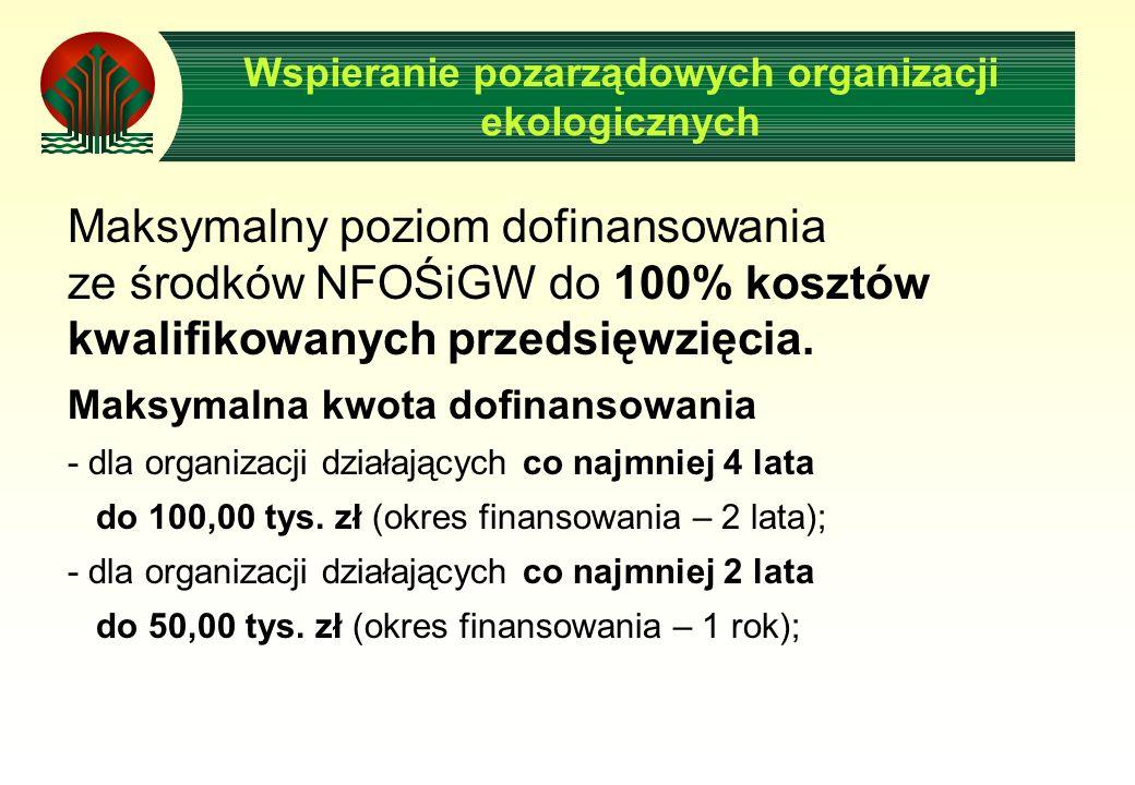 Wspieranie pozarządowych organizacji ekologicznych Maksymalny poziom dofinansowania ze środków NFOŚiGW do 100% kosztów kwalifikowanych przedsięwzięcia.