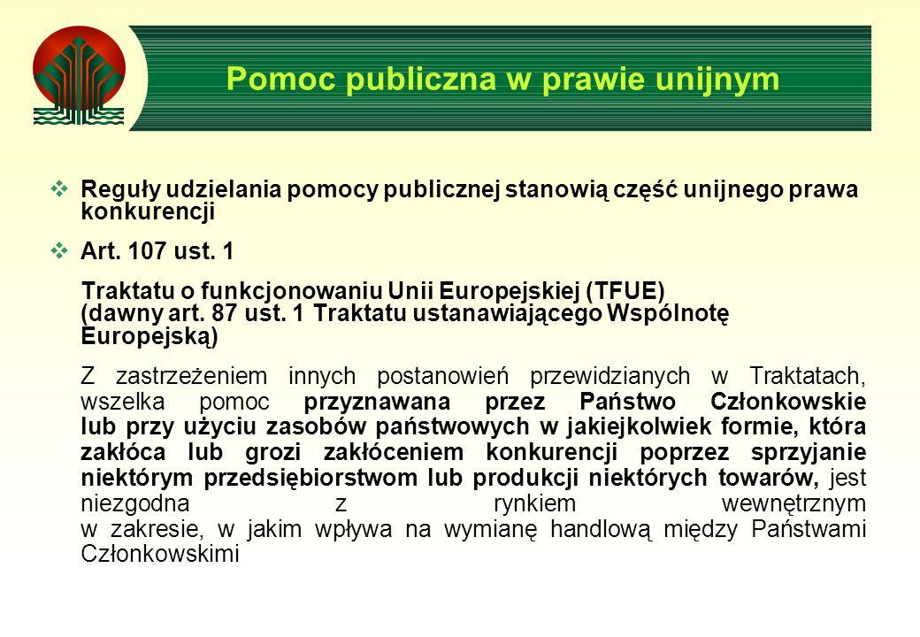 Pomoc publiczna w prawie unijnym Reguły udzielania pomocy publicznej stanowią część unijnego prawa konkurencji Art.