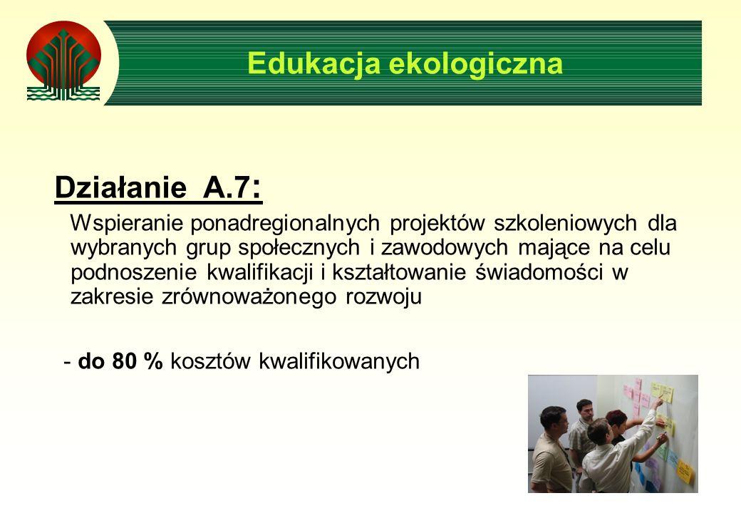 Edukacja ekologiczna Działanie A.7 : Wspieranie ponadregionalnych projektów szkoleniowych dla wybranych grup społecznych i zawodowych mające na celu podnoszenie kwalifikacji i kształtowanie świadomości w zakresie zrównoważonego rozwoju - do 80 % kosztów kwalifikowanych