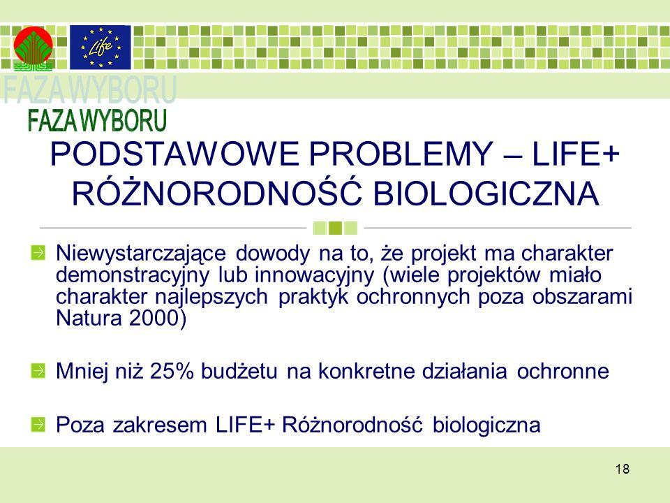 PODSTAWOWE PROBLEMY – LIFE+ RÓŻNORODNOŚĆ BIOLOGICZNA Niewystarczające dowody na to, że projekt ma charakter demonstracyjny lub innowacyjny (wiele projektów miało charakter najlepszych praktyk ochronnych poza obszarami Natura 2000) Mniej niż 25% budżetu na konkretne działania ochronne Poza zakresem LIFE+ Różnorodność biologiczna 18
