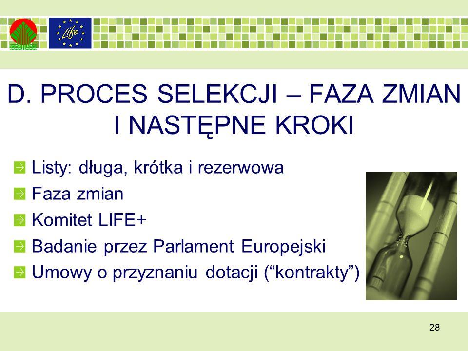 D. PROCES SELEKCJI – FAZA ZMIAN I NASTĘPNE KROKI Listy: długa, krótka i rezerwowa Faza zmian Komitet LIFE+ Badanie przez Parlament Europejski Umowy o