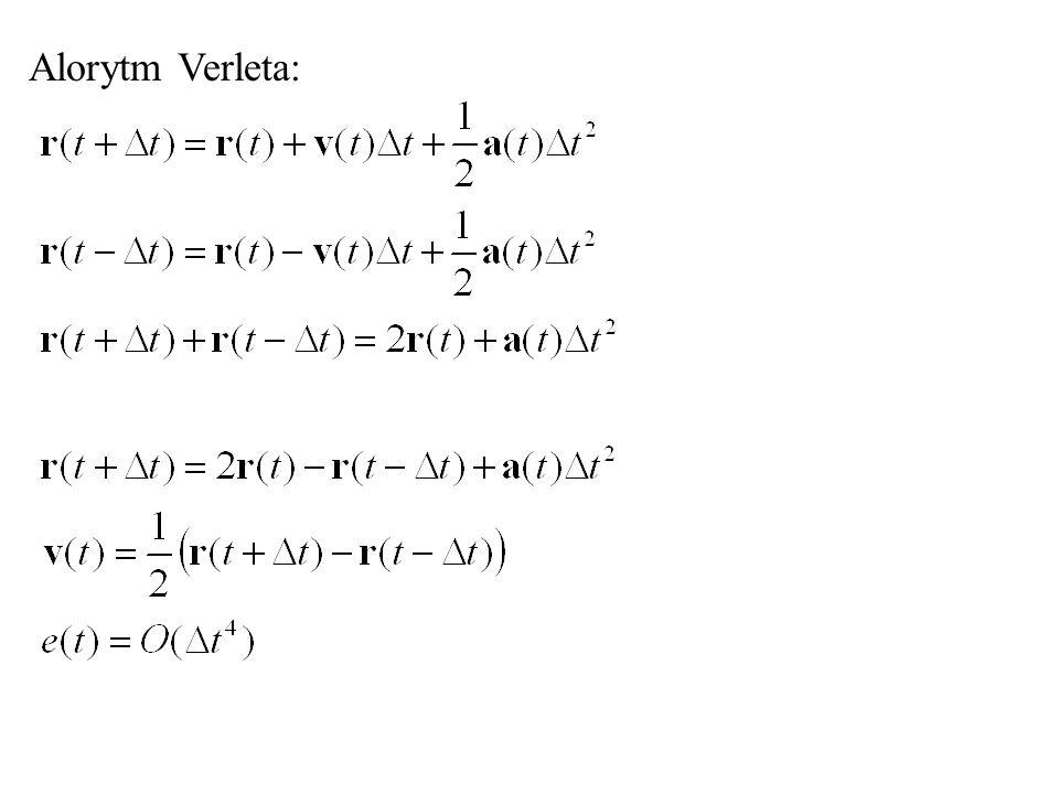 Prędkościowy algorytm Verleta (velocity Verlet) Krok 1: Krok 2:
