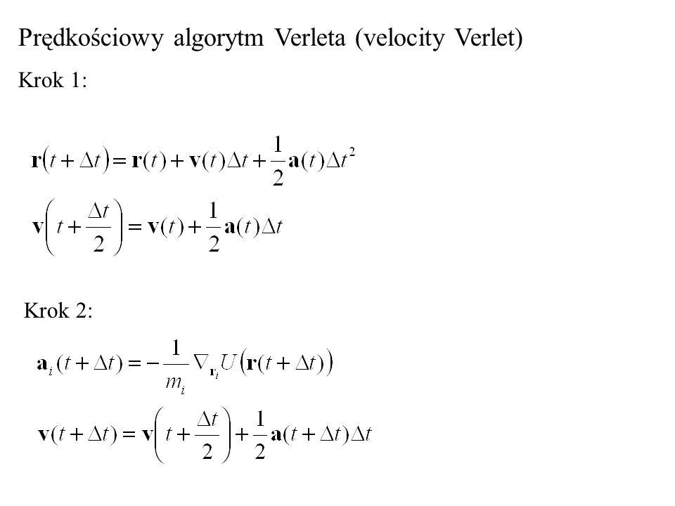 Algorytm zabiego skoku (leapfrog): Wszystkie trzy algorytmy są algorytmami symplektycznymi, tj, całkowita energia układu oscyluje wokół pewnej stałej wartości bliskiej początkowej energii całkowitej (inaczej: zachowują cień hamiltonianu (shadow Hamiltonian).