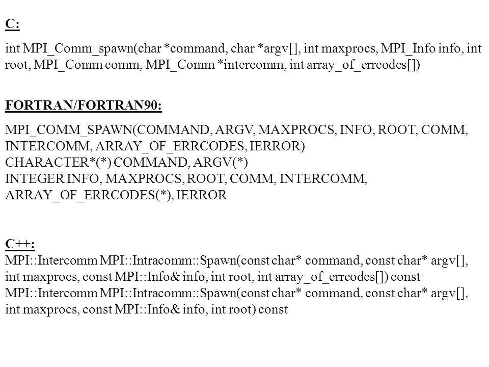 C: int MPI_Comm_spawn(char *command, char *argv[], int maxprocs, MPI_Info info, int root, MPI_Comm comm, MPI_Comm *intercomm, int array_of_errcodes[])