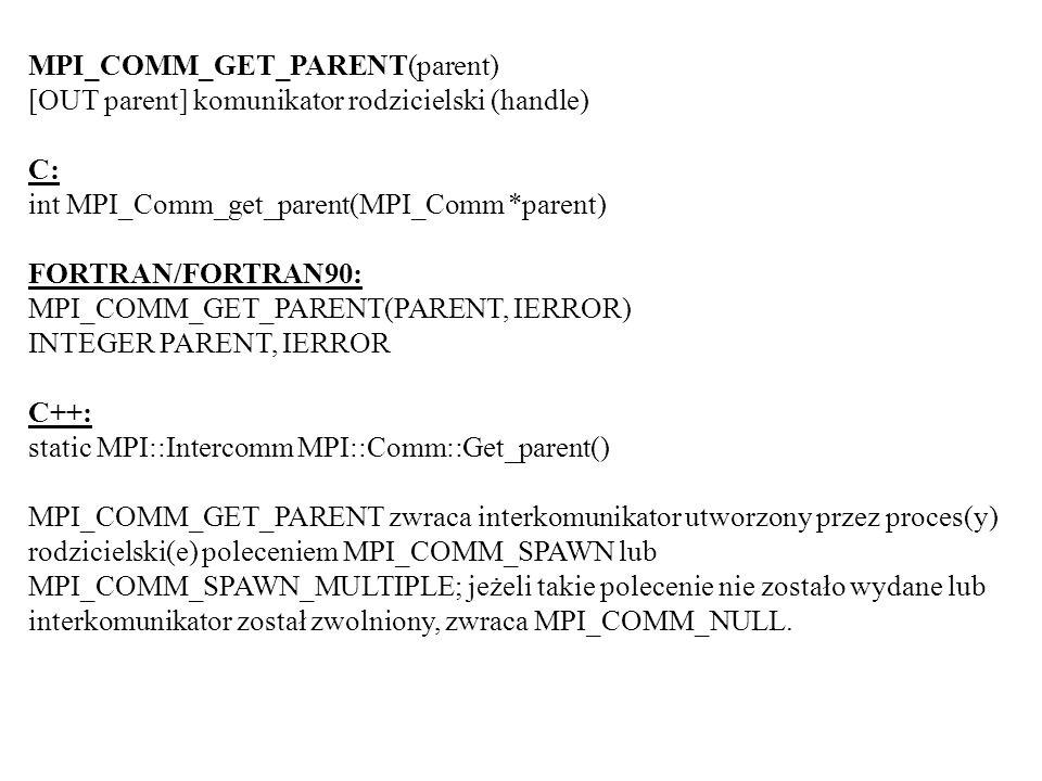 MPI_COMM_GET_PARENT(parent) [OUT parent] komunikator rodzicielski (handle) C: int MPI_Comm_get_parent(MPI_Comm *parent) FORTRAN/FORTRAN90: MPI_COMM_GE