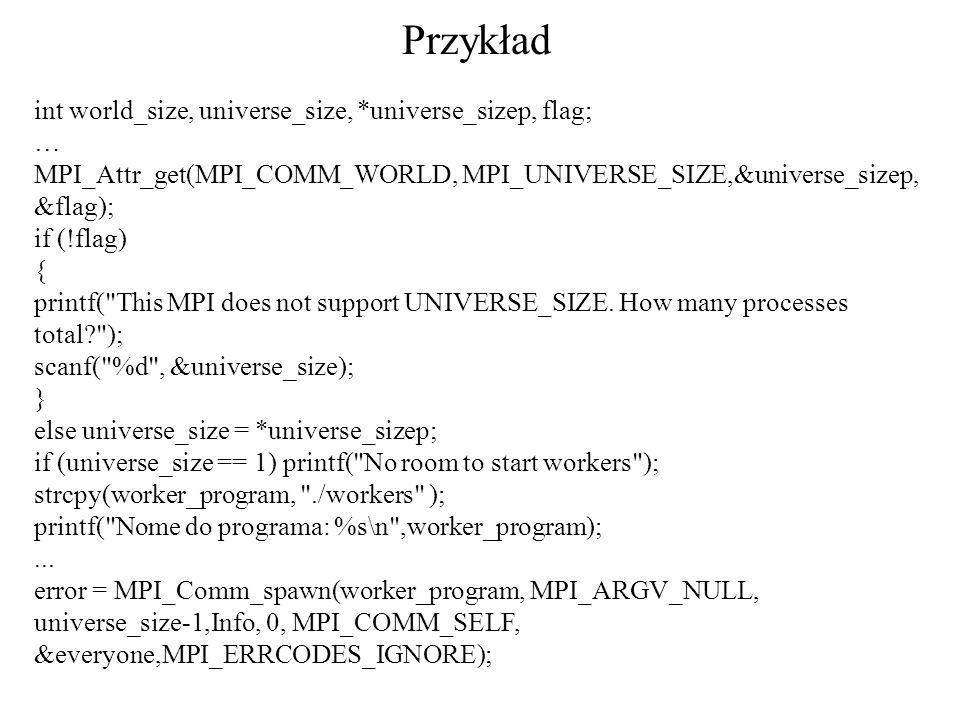 int world_size, universe_size, *universe_sizep, flag; … MPI_Attr_get(MPI_COMM_WORLD, MPI_UNIVERSE_SIZE,&universe_sizep, &flag); if (!flag) { printf(