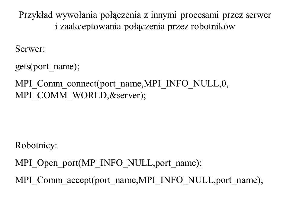 Przykład wywołania połączenia z innymi procesami przez serwer i zaakceptowania połączenia przez robotników Serwer: gets(port_name); MPI_Comm_connect(p
