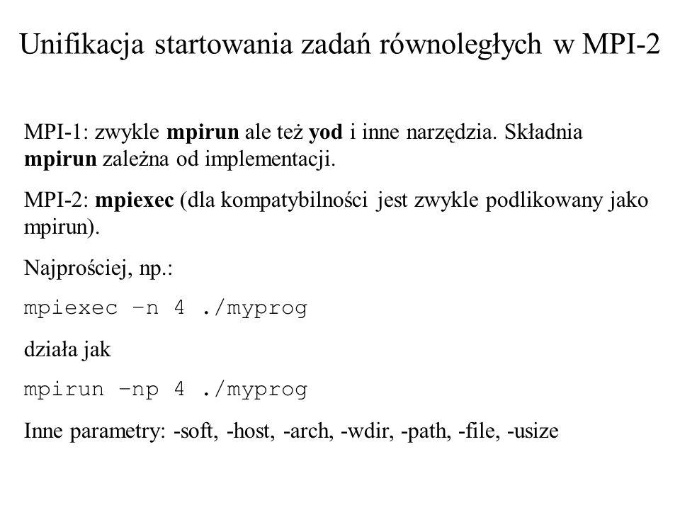 Unifikacja startowania zadań równoległych w MPI-2 MPI-1: zwykle mpirun ale też yod i inne narzędzia. Składnia mpirun zależna od implementacji. MPI-2: