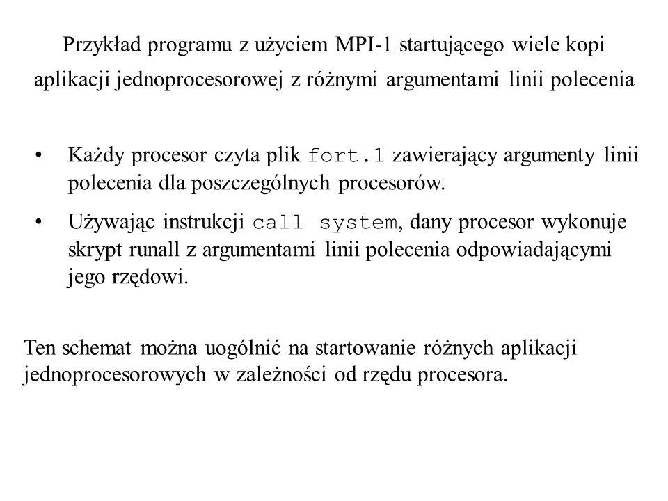Przykład programu z użyciem MPI-1 startującego wiele kopi aplikacji jednoprocesorowej z różnymi argumentami linii polecenia Każdy procesor czyta plik