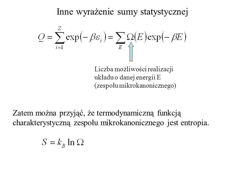 Inne wyrażenie sumy statystycznej Liczba możliwości realizacji układu o danej energii E (zespołu mikrokanonicznego) Zatem można przyjąć, że termodynam