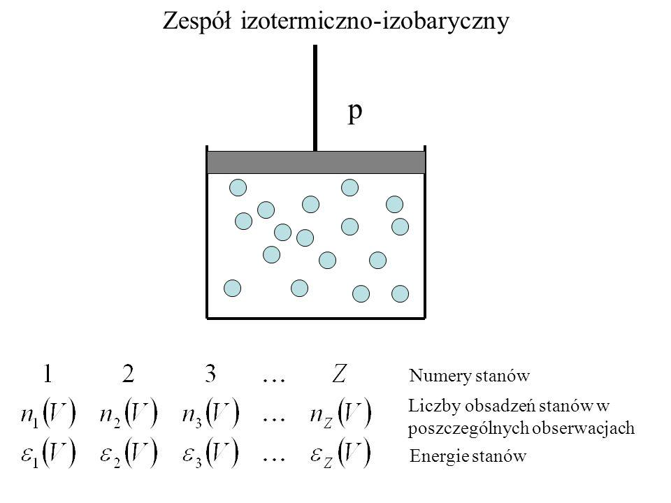 Zespół izotermiczno-izobaryczny p Numery stanów Liczby obsadzeń stanów w poszczególnych obserwacjach Energie stanów