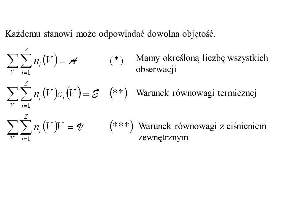 Mamy określoną liczbę wszystkich obserwacji Warunek równowagi termicznej Każdemu stanowi może odpowiadać dowolna objętość. Warunek równowagi z ciśnien