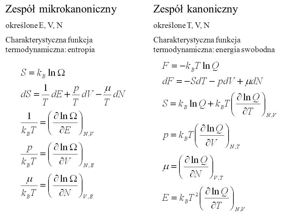 Zespół mikrokanoniczny określone E, V, N Charakterystyczna funkcja termodynamiczna: entropia Zespół kanoniczny określone T, V, N Charakterystyczna fun