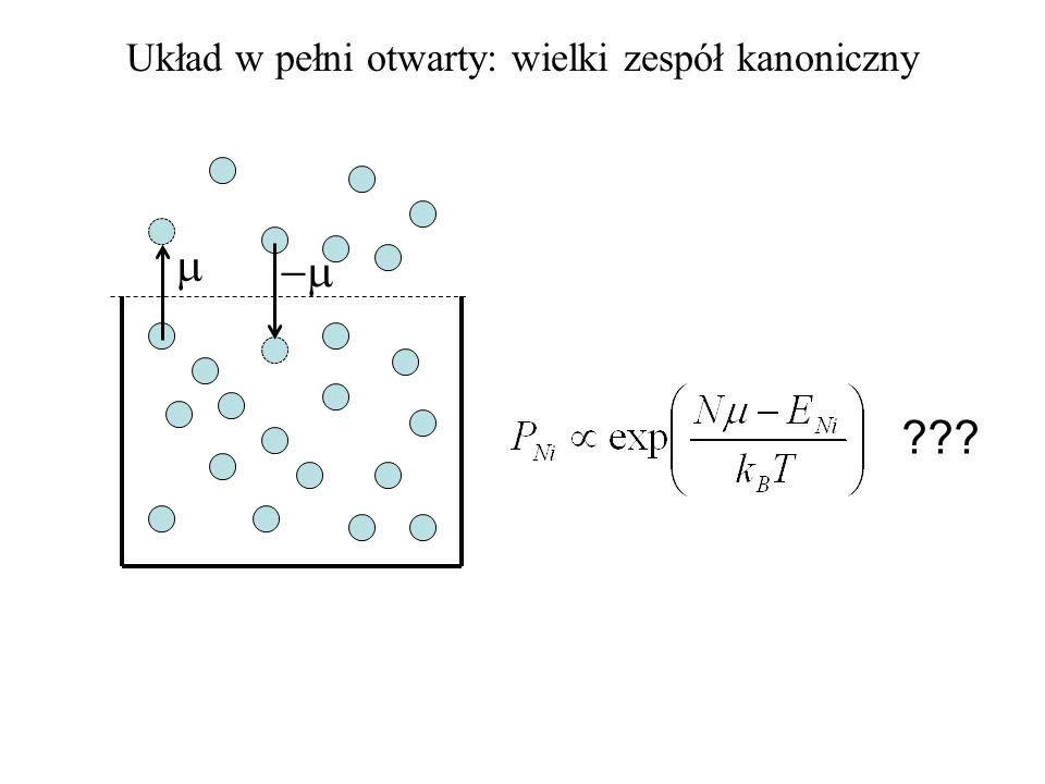 Mamy określoną liczbę wszystkich obserwacji Warunek równowagi termicznej Każdemu stanowi może odpowiadać dowolna objętość.