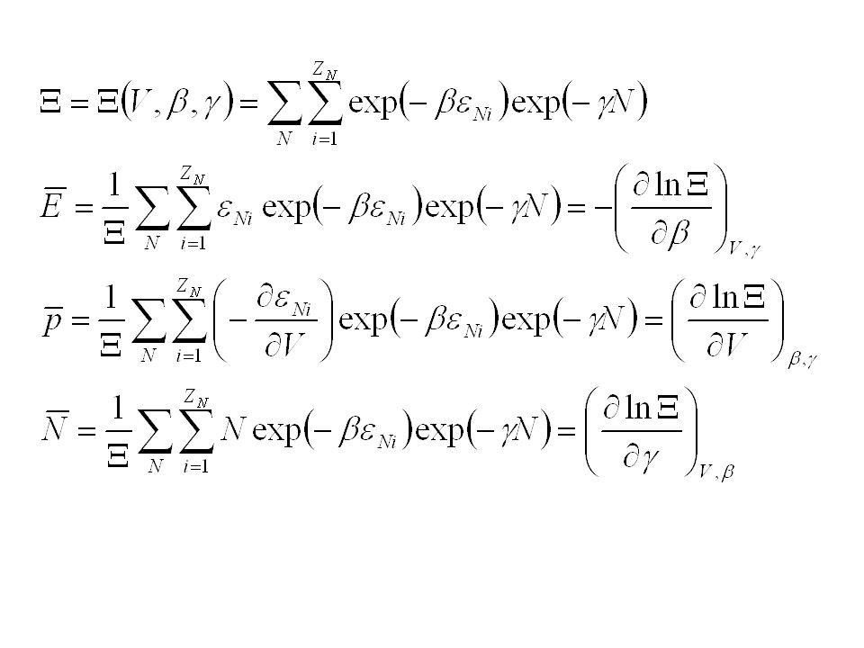 Wielki zespół kanoniczny określone T, V, Charakterystyczna funkcja termodynamiczna: pV Zespół izotermiczno- izobaryczny określone T, p, N Charakterystyczna funkcja termodynamiczna: energia swobodna
