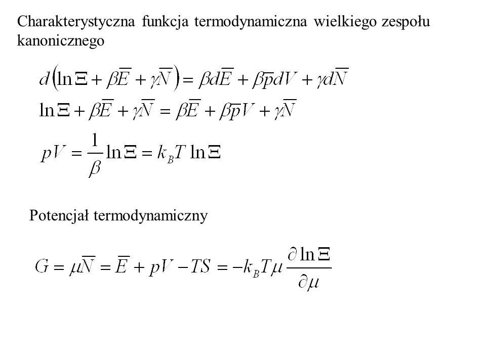 Entropia w zespole kanonicznym jeszcze raz S = k B ln (liczba sposobów realizacji stanu układu) Wzór wykuty na nagrobku Ludwiga Boltzmanna na cmentarzu Zentralfriedhof w Wiedniu.