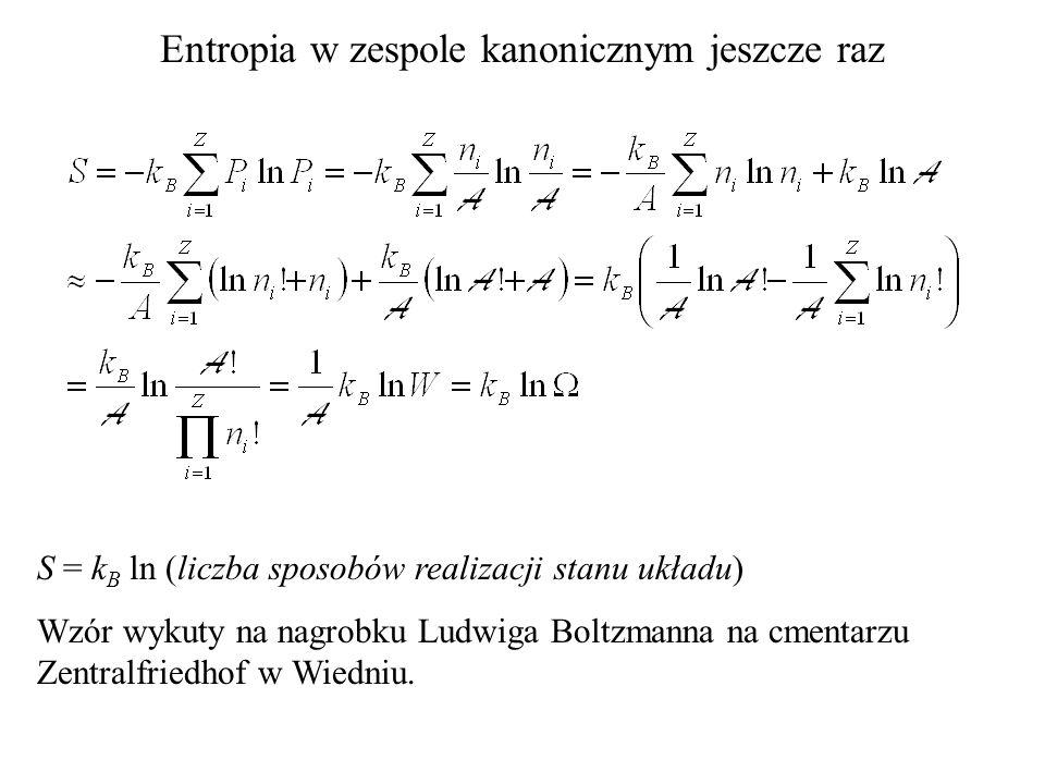 Entropia w zespole kanonicznym jeszcze raz S = k B ln (liczba sposobów realizacji stanu układu) Wzór wykuty na nagrobku Ludwiga Boltzmanna na cmentarz