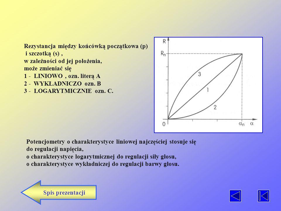 POTENCJOMETRY Potencjometry to rezystory zmienne, których wartość rezystancji zależy od położenia ruchomego ślizgacza. Rozróżnia się rezystory zmienne