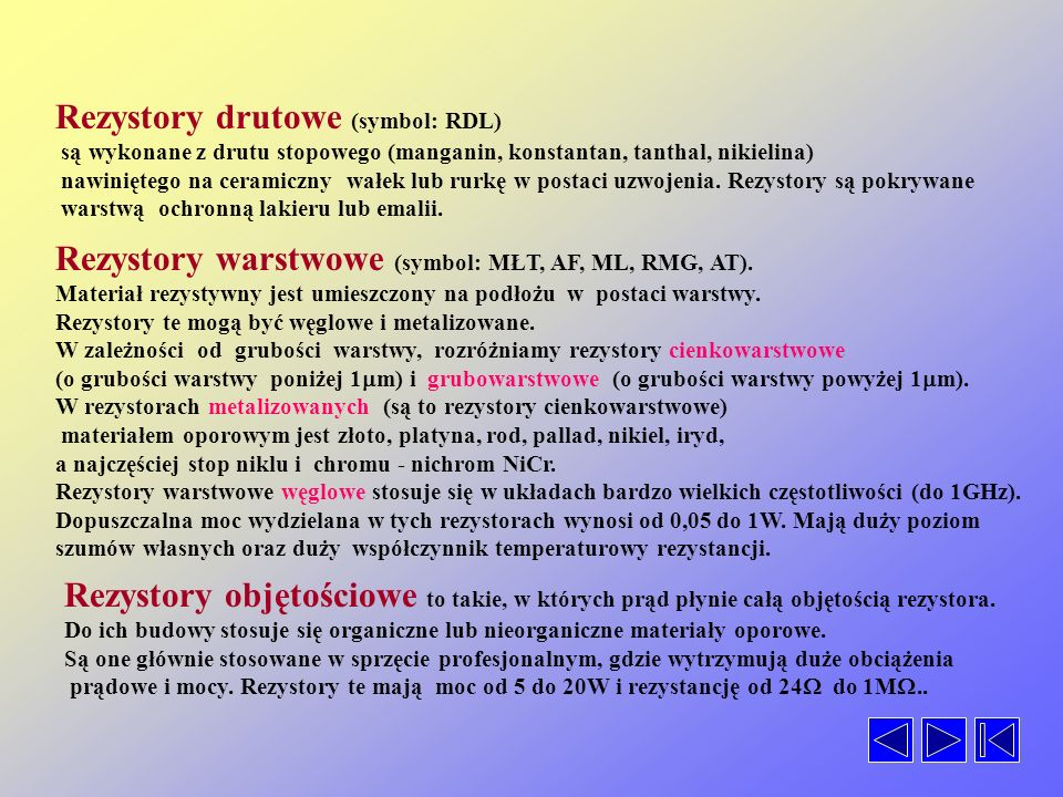 REZYSTORY DrutoweNiedrutowe LinioweNieliniowe StałeZmienne LinioweNieliniowe StałeZmienne WarstwoweObjętościowe NieorganiczneOrganiczne Termistory War
