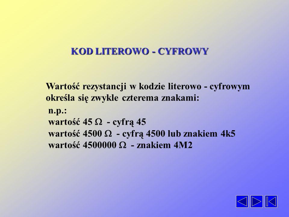 KOD LITEROWO - CYFROWY Wartość rezystancji w kodzie literowo - cyfrowym określa się zwykle czterema znakami: n.p.: wartość 45 - cyfrą 45 wartość 4500 - cyfrą 4500 lub znakiem 4k5 wartość 4500000 - znakiem 4M2