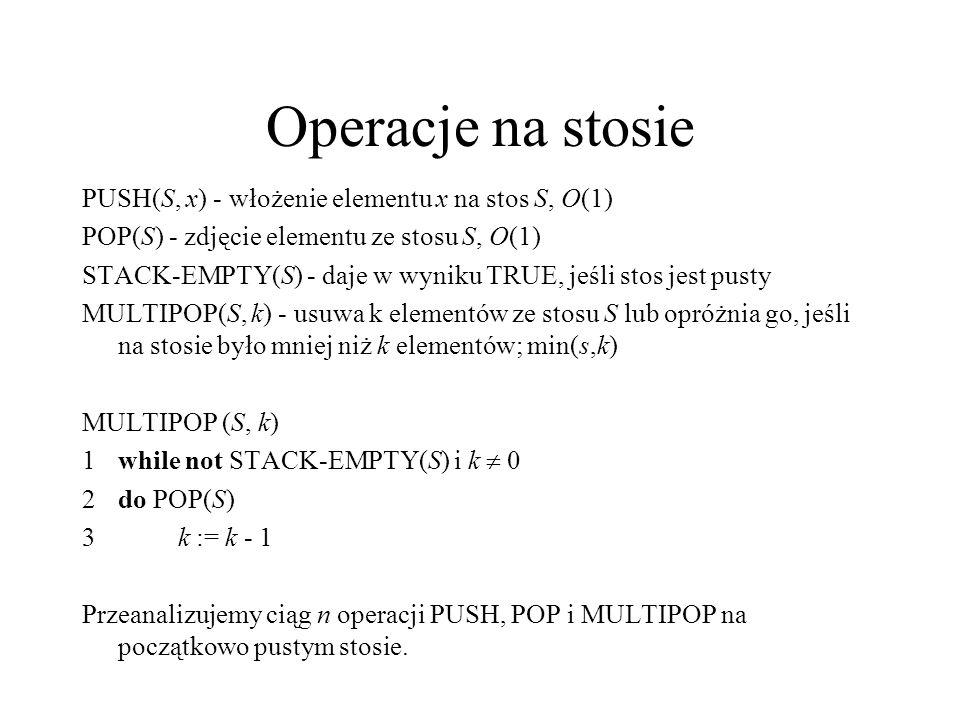 Operacje na stosie PUSH(S, x) - włożenie elementu x na stos S, O(1) POP(S) - zdjęcie elementu ze stosu S, O(1) STACK-EMPTY(S) - daje w wyniku TRUE, je