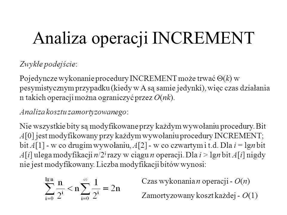 Analiza operacji INCREMENT Zwykłe podejście: Pojedyncze wykonanie procedury INCREMENT może trwać (k) w pesymistycznym przypadku (kiedy w A są samie je